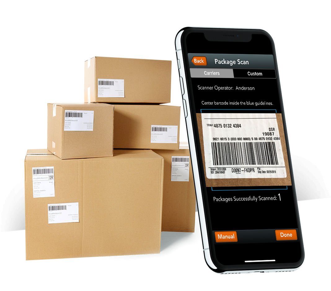 QTrak mail package tracking app running on iPhone and packages to be delivered