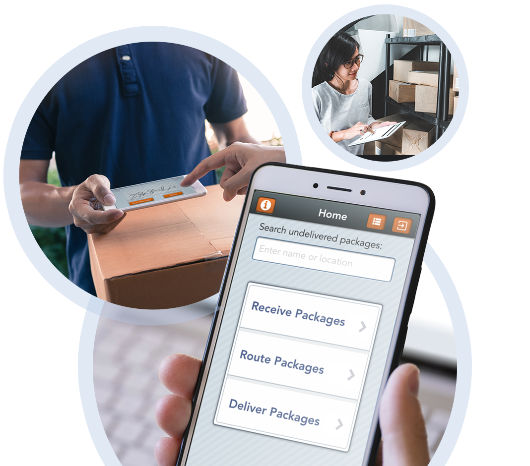 Package delivery tracking app on iPhone, signing for delivery